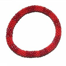 Textured Red Crocheted Beaded Bracelet, Seed Beads,Nepal, TB4