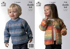 King Cole Double Knitting Pattern Splash DK Childrens Sweater & Cardigan 3146