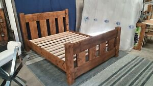 HANDMADE SOLID WOODEN CHUNKY RUSTIC SLAT PINE DOUBLE BED