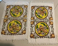 VINTAGE Cheery Mushrooms And Daisies Terry Cloth Dish Towels Set