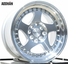 AODHAN AH01 15X8 4X100/114.3 +20 SILVER  RIMS Fits 4 Lug Civic Jetta Miata Xb Ek