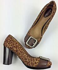 Fossil Maddox Buckle Brown Giraffe Print Calf Pony Hair Pump Heel Shoe Size 8.5