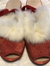 New listing Vintage Red Slippers Silk with Fur Trim