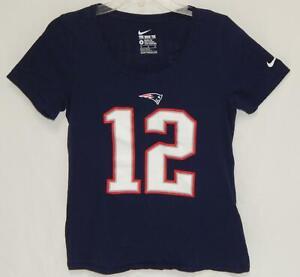 NIKE New England Patriots Tom Brady #12 Navy Blue S/S T-Shirt Women's Medium