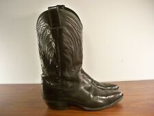 Classic Justin Cowboy Riding Rancher Western Men's Black Leather Boots Size 10 D