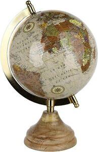 Globus Antik Tischglobus aus Metall inkl. Fuß aus Mangoholz Skulptur Figur