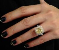 Certified 4.40Ct Yellow Cushion Diamond 14K White Gold Engagement & Wedding Ring