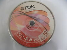 TDK DVD-RW 4.7 Go 120 M 1 - 2X Blank RE Enregistrable Disques 10 Pack Jewel Case BX8