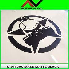 """Skull gas mask star hood decal Matte black decal Fits Jeep JK, TJ, YJ, KL 19"""""""