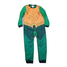 Aquaman Nwt Zip up Bodysuit Pants Pajama ~ Sz L (10-12) ~ Green ~ Long Sleeve