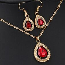 Red Ruby Teardrop Pear Diamond Halo Pendant Chain Necklace 14K Yellow Gold