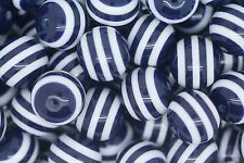 Navy Striped 20mm Chunky Acrylic Beads 10 ct for Bubblegum Necklace