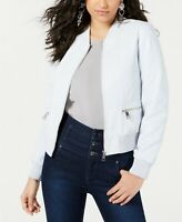 GUESS Melissa Faux-Leather Quilted Bomber Jacket Cirrus Blue Size XL