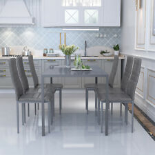 Stunning Grey Gloss Glass Dining Table with 6 Leather Chairs Set Home Furniture