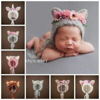 Handmade Flower Ear Bonnet Hat for Newborn Baby Girl Photo Prop Photography