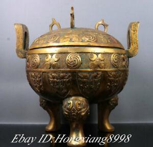 """7.8"""" Old China Bronze Ware GIlt Pattern Beast 3 Foot Ding Incense Burner Censer"""