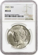 1923 $1 Silver Peace Dollar NGC MS63