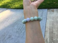 ~60MM  Certified Grade A Natural-Green Lavender Jadeite Jade Beads Bracelet icy