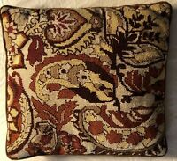 vintage needlepoint pillow Browns/rust