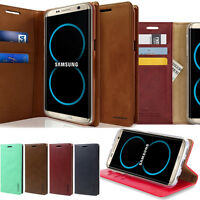 For Galaxy S10 S9 Note 9 Slim Retro Flip leather Folio wallet Stand Case Cover