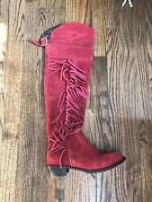Dark Red Suede Over The Knee Boots With Fringe. Size 9.5