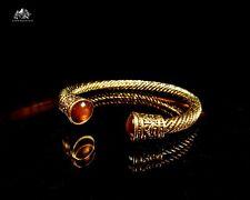 Torque viking bracelet. Elegant tigers eye mens bracelet. Antique gold bangle