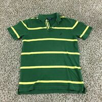 Retro Nautica Men Sz S Golf Polo Shirt Green Yellow Stripes Slim Fit