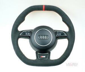 OEM Audi custom steering wheel A3 S3 Q3 RS3 S RS S line thick Alcantara flat top