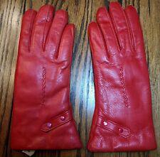 Vintage Unused Red Genuine Leather & Fur Lined Gloves Size 7