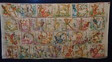 Vintage FAIRY LETTERS 'A to Z' Alphabet Fabric Panel (121cm x 63cm) MINT COND.