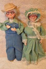 """#211: Plastic soap bottle Caucasian """"Country Granny & Grandpa"""". Gingham attire"""