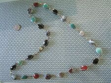 Mexico large gemstone necklace Vintage Sterling Hochen en