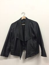 Ladies DKNY black lambskin leather light jacket blazer women's perforated small