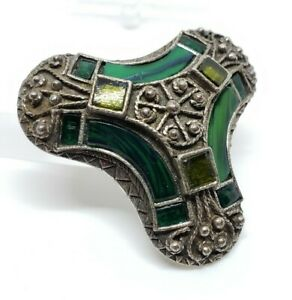 Vintage Signed Miracle Shades Of Green Art Glass Faux Stone Celtic Hobnob Brooch