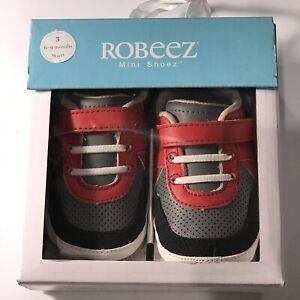 NIB Robeez Leather Mini Shoez, Kickin Kyle Grey/Red, Size (3) 6-9 Months,