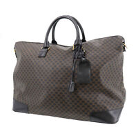 CELINE Macadam Pattern Travel Hand Bag Black Brown PVC Leather Italy Auth #AC683