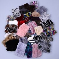 Women Real Rex Rabbit Fur Handmade Headbands Girl Ring Cowl Snood Scarves Winter