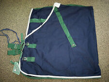 NWT Saxon Cotton Stable Sheet Blanket Navy w/ Hunter Green Silver Trim 75""