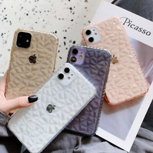 Clear Diamond Texture Soft Case Cover For iPhone 12 Pro Max 12 mini XR 8 7 Plus
