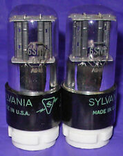 NOS Matched Pair Sylvania 6SN7GT Black Plate Vacuum Tubes Same 1949 Date