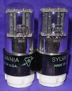 NOS Matched Pair Sylvania 6SN7GT Black Plate Vacuum Tubes Same 1949 Date