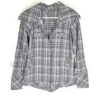 ExOfficio Women's Alba Plaid Long Sleeve Top Size Small Snap Front