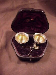PAIR STERLING SILVER SALT CELLARS W/SPOONS, SHEFFIELD ENGLAND, BOXED 1896