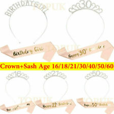 Happy Birthday Silver Tiara With Rose Gold Sash 16/18/21/30/50/60th Girls Crown