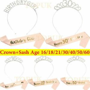 Happy Birthday Silver Tiara With Rose Gold Sash 16/18/21/30/50/60th Girls Crown