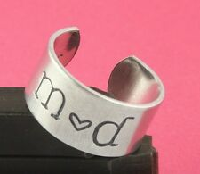 Initials Ring with Custom Date on Inside - Adjustable Aluminum Ring Handstamped
