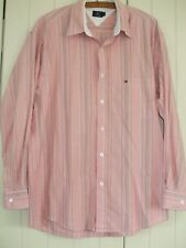 """Tommy Hilfiger Mens Shirt Pink Beige White Stripe Size L 23"""" from pit to pit VGC"""