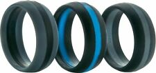 ThunderFit Silicone Wedding Rings 3 Pack Black/Blue Black/Gray Gray/Black Sz 10