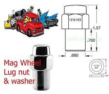 """New single 1/2"""" 20 RH thread Chrome Mag lug nut with washer Standard mag wheels"""