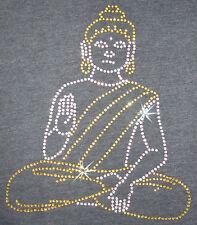 BUDDHA RELIGIOUS  iron-on RHINESTONE DIAMANTE CRYSTAL BEAD TSHIRT TRANSFER PATCH